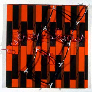 sans titre 1998 100x100cm bâche et tubes plastique, résine polyuréthane, pigments